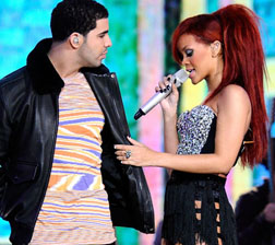 Rihanna and Drake performing at the NBA All Stars Game