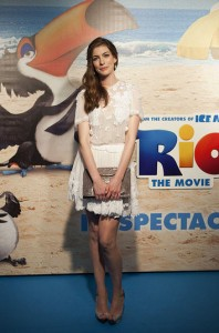 Anne Hathaway on the Rio blue carpet