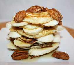 Buttermilk Pancakes with Bananas, Pecans and Maple Syrup