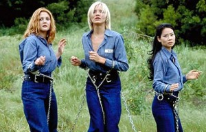 Drew Barrymore, Cameron Diaz and Lucy Lui in Charlie's Angels last remake