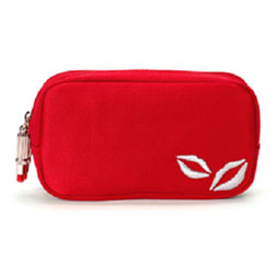Lulu Guinness Red Satin Double Zip Make Up Bag