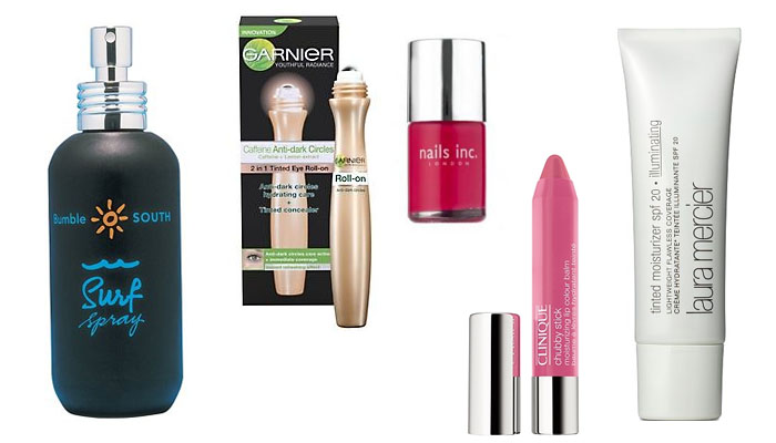 Bumble and Bumble Surf Spray, Garnier Tinted Roll-on, Nails Inc in Shoreditch, Clinique Chubby Stick in Whopping Watermelon and Laura Mercier Tinted Moisturiser