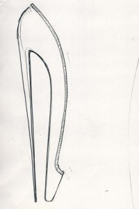 Christian Louboutin's sketch for Bella Freud's Fetish collection