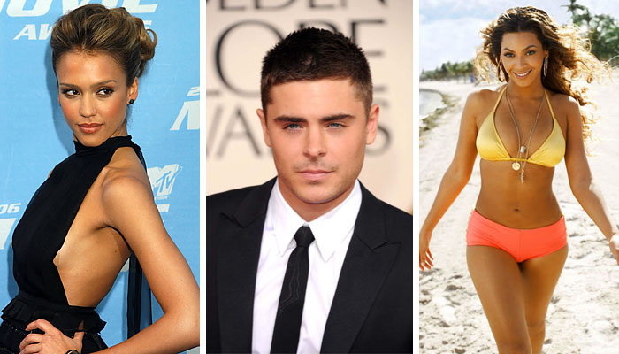 Jessica Alba, Zac Efron and Beyonce Knowles