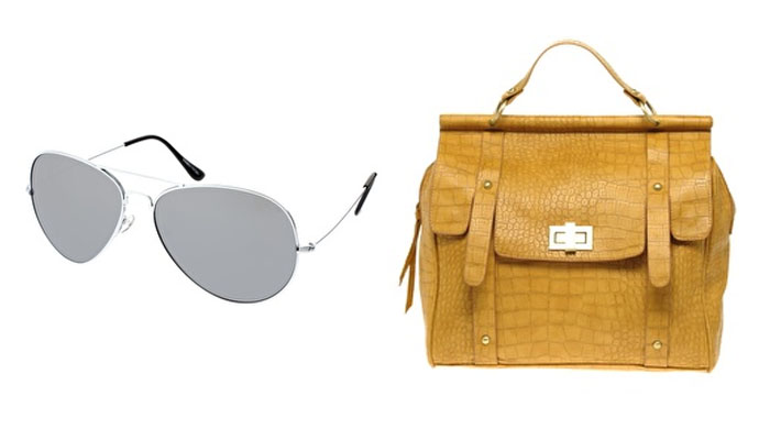 Mirrored Aviators and a Faux Croc Bar Day Bag from ASOS