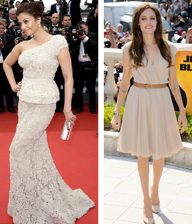 Aishwarya Rai in Elie Saab Couture and Angelina Jolie in Salvatore Ferragamo