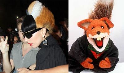 Lady Gaga's foxy style a la Basil Brush