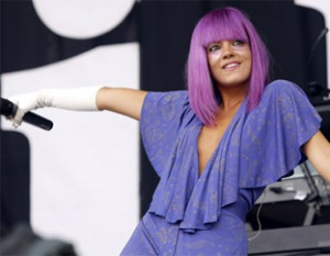 Lily Allen performing at Glastonbury in 2009