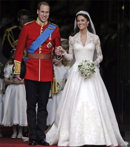 Prince William and Kate Middleton wearing Sarah Burton's design