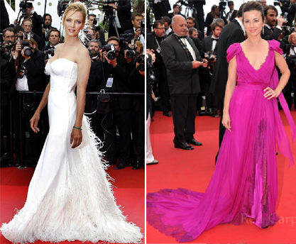 Uma Thurman in Versace and Linda Cardellini in Alberta Ferretti
