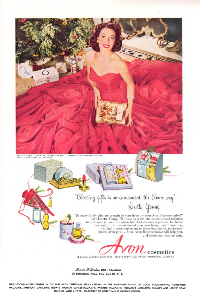 A 1952 Avon ad with the late, great Loretta Young.