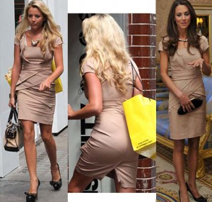 Lydia Bright (bearng her VPL) in Kate Middleton's Reiss number