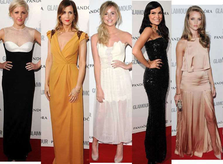Ellie Goulding in Jonathan Saunders, Kristen Wiig in J.Mendel, Diana Vickers in Tata Naka, Jessie J in D&G, and Rosie Huntington-Whitely in Stella McCartney