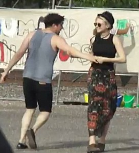 Carey Mulligan and Marcus Mumford dancing backstage before a concert in Arizona