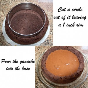 Cut the cake and pour in the ganache
