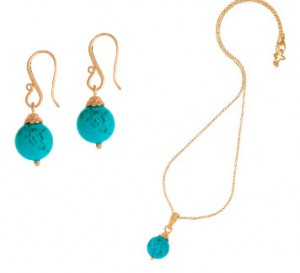 Dower & Hall Turquoise Drop Earrings and Pendant