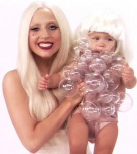 Gaga spoofs her babywear range