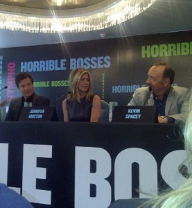 Jason Bateman, Jennifer Aniston and Kevin Spacey at the press conference today