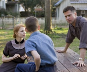 Jessica Chastain with Brad Pitt and their onscreen son in Tree of Life