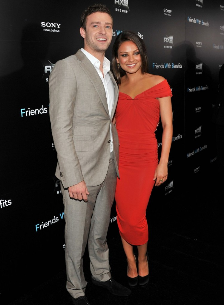 Justin Timberlake and Mila Kunis at the premiere for Friends With Benefits