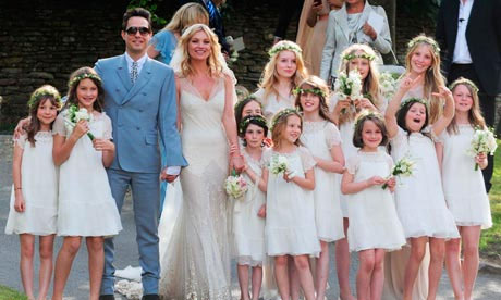 Kate Moss and Jamie Hince with their bridesmaids