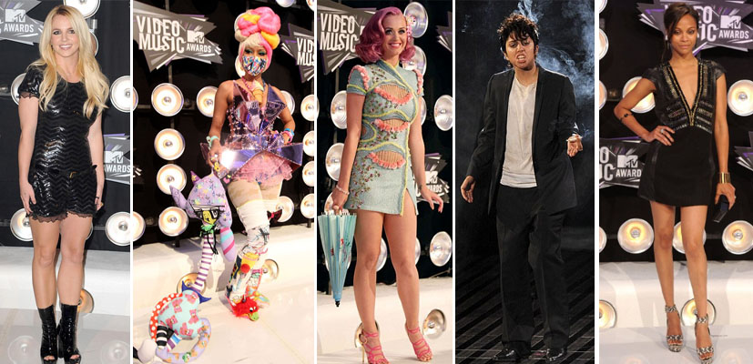 Britney Spears, Nicki Minaj,  Katy Perry, Lady Gaga (aka Jo Calderone) and Zoe Saldana