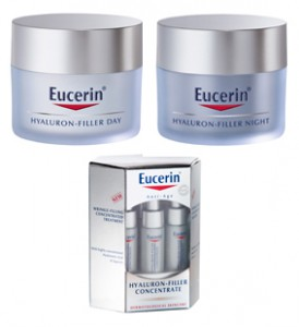 Clockwise from top left - Eucerin Hyaluron-Filler Day Cream, Night Cream and Concentrate Serum