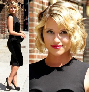 Dianna Agron before The Late Show with David Letterman