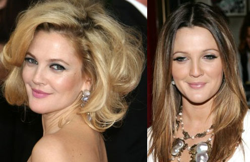 Drew Barrymore - from blonde to brunette