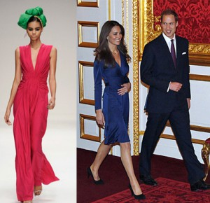 Issa designs on the catwalk and worn by Kate Middleton