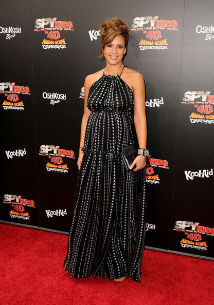 Jessica Alba looking heavily pregnant at the premiere for Spy Kids 4D premiere at the beginning off August