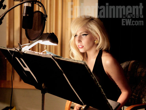 Lady Gaga recording her lines for The Simpsons on 22nd August