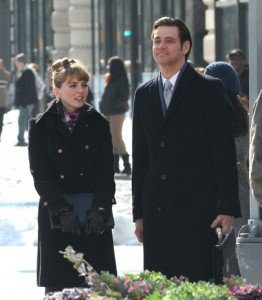 Ophelia on set with Jim Carey in Mr Popper's Penguins