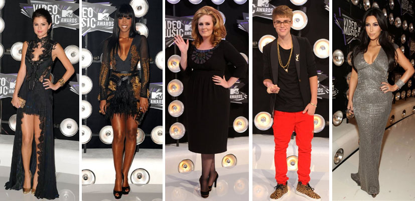 Selena Gomez, Kelly Rowland, Adele, Justin Bieber and Kim Kardashian