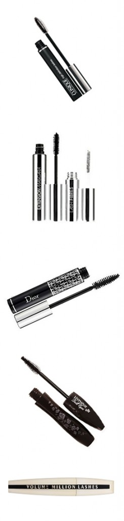 Top Mascaras (top to bottom) - Clinique, ModelCo, DiorShow, Lancome and L'Oreal