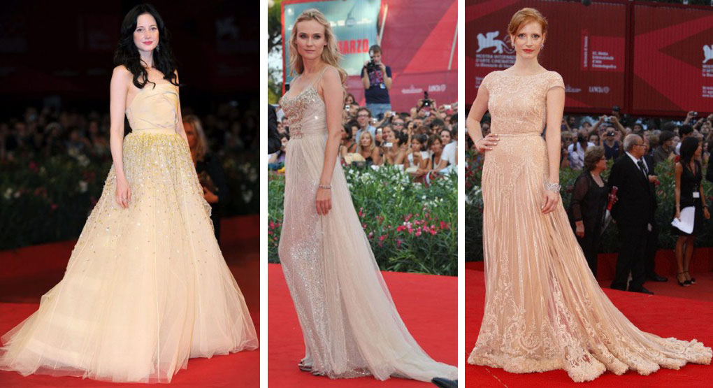 Andrea Risborough in Dior Haute Couture and Diane Kruger and Jessica Chastain in Elie Saab