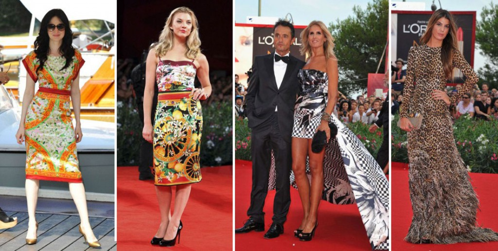 Andrea Riseborough in Dolce and Gabbana, Natalie Dormer, Giulio Base and Bianca Brandolini in Giambattista Valli