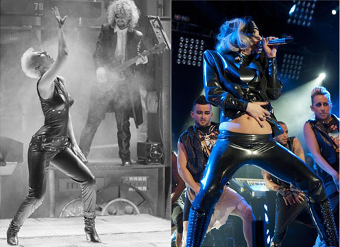 Annie Lennox in her leather jumpsuit and Gaga taking a leaf out of her book