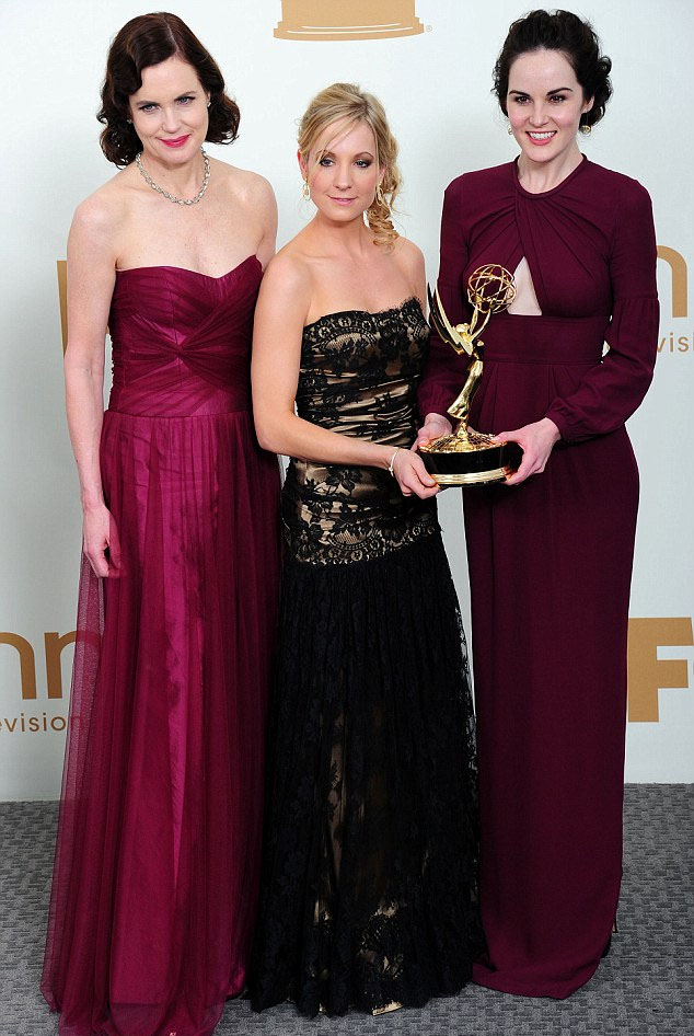 Elizabeth McGovern, Joanne Froggatt and Michelle Dockery with one of four awards won by Downton Abbey
