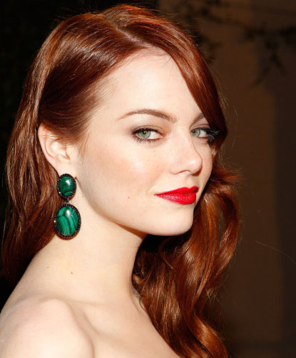 Emma Stone doning the flawless look with red lips