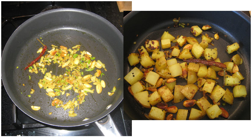 Fry up the spices, potatoes and salt