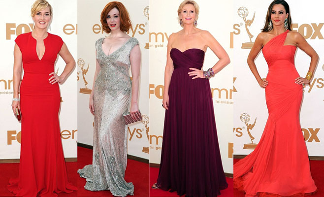 Kate Winslet, Christina Hendricks, the host Jane Lynch and Sofia Vergara