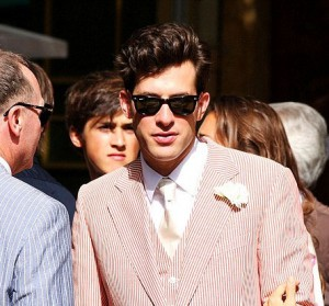 Mark Ronson in a red and shite striped suit for his wedding