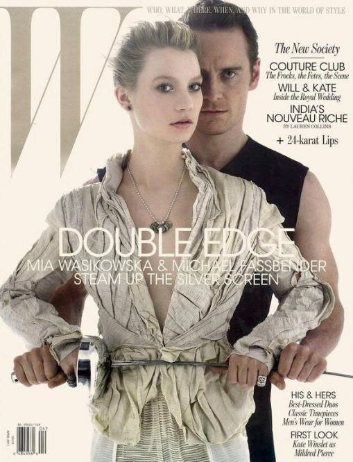 Mia Wasikowska and Michael Fassbender on the cover of W Magazine