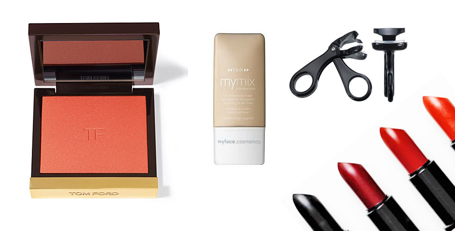 Tom Ford blush in Flush, MyMix Foundation, Japonesque curlers and Topshop's gret range of bold lippys