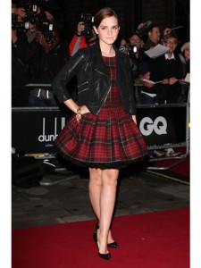 Emma Watson in a feminine plaid Alexander McQueen dress