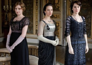 The ladies on Downton Abbey with vintage frocks