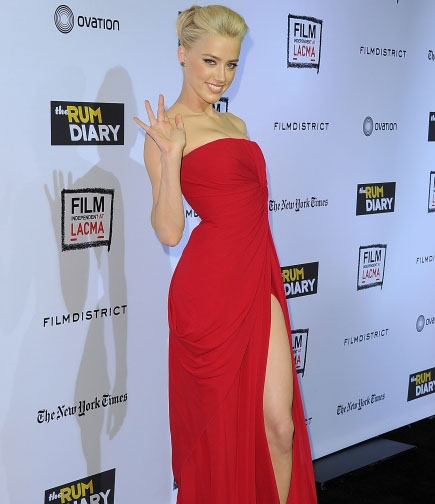 Amber Heard wearing a classic strapless gown with split