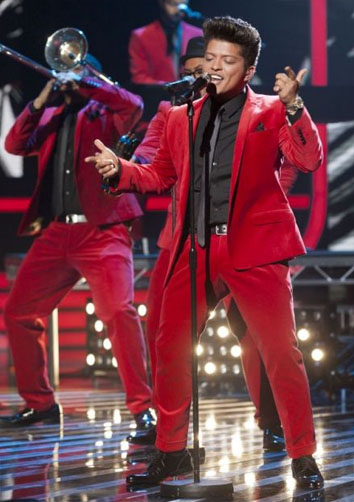 Bruno Mars performing on X Factor