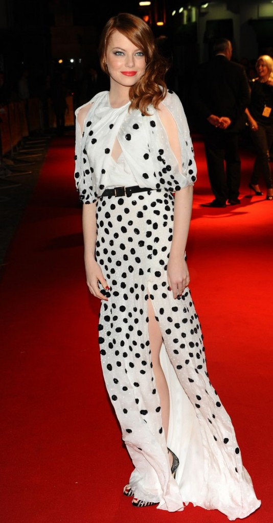 Emma Stone wearing Luca Luca at the london premiere for The Help